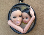 Raven Haired Mother and Child upcycled pendant