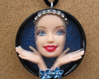 Blue Zen  - Upcycled Barbie Doll Pendant