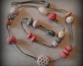 Bohemian Necklace, Original, Handmade Clay Beads, Hand Painted, Pastel Colors, Dots, Crocheted, Monicaj