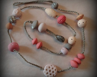 Bohemian Necklace, Handmade Clay Beads, Hand Painted, Pastel Colors, Dots, Crocheted