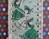 Vintage Playing Card Book Mark / Ornament / Tag  -  Crochet - Ladies Three