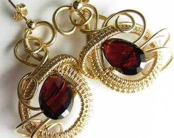 Perfectly Sanguine - Blood Red Garnet in 14k Goldfill Wrapped Earrings