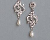 Bridal Swarovski Crystal Vintage Glamour Wedding Pearl Teardrop Earrings