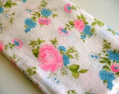 Vintage Cotton Floral Pink and Blue Fleece Fabric - 1.5 yards