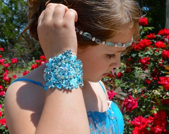 Blue Rhinestone Lace Cuff Bracelet, Bridal Lace Cuff, Bridal Jewelry, Wedding Jewelry