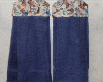 SET OF 2 - Hanging Cloth Top Kitchen Hand Towels - Old Fashion Brown and Blue Floral Print, Blue Towels