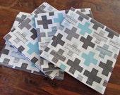 "Eco Friendly Cloth Napkin Set of 4 100% Kona Cotton 14"" Square Light Blue & Black"