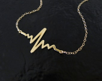 Gold Heartbeat Necklace, 14k Solid Gold, Sterling Silver, or Gold Vermeil Heart Beat Pendant And Chain