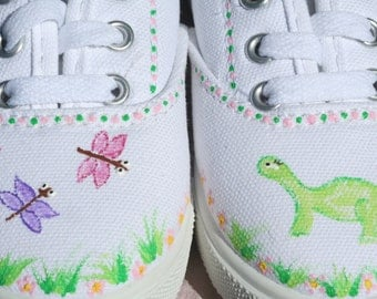 Dinosaur Shoes Hand Painted Canvas, Toddler size 7