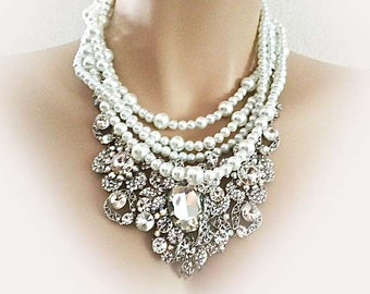 Bridal Statement Necklace Wedding Necklace Wedding Jewelry Set Bridal Necklace Earrings Pearl Rhinestone Statement Bib White Crystal Sukran