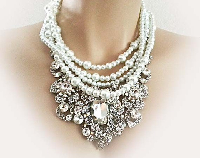 Pearl Rhinestone Bridal Necklace Wedding Jewellery Statement Necklace