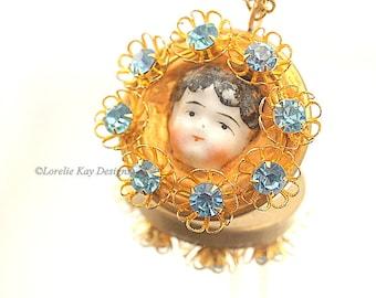 Flower Child Doll Necklace Brass Blue Flower Rhinestones China Doll Face