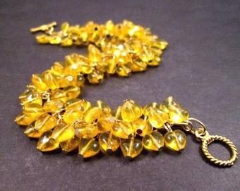 Heart Cha Cha Bracelet, Yellow Glass Hearts and Gold Chain Bracelet, Sweetheart Charm Bracelet, FREE Shipping U.S.