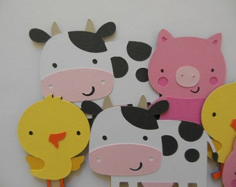 Farm Animal Cupcake Toppers - Cow, Duck and Pig - Birthday Decorations - Baby Showers - Set of 6