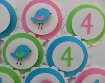 4th Birthday Bird Cupcake Toppers - Turquoise, Rose Pink and Lime Green - Girl Birthday Party Decorations - Set of 12