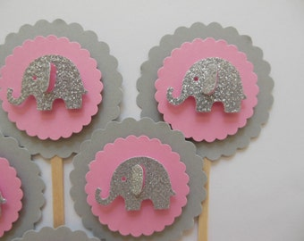 Glitter Elephant Cupcake Toppers - Pink, Gray and Silver Glitter - Girl Baby Shower Decorations - Girl Birthday Decorations - Set of 6