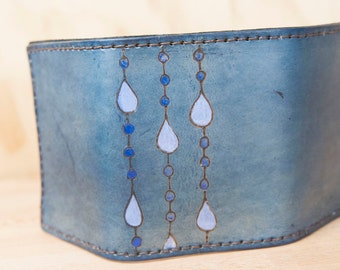 Wallet - Trifold Wallet - Leather Wallet - Mens Wallet - Rain pattern with raindrops in blue and white - Modern Organic - Womens Wallet