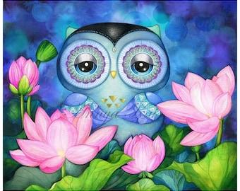 Buddha Wall Art - Meditation Painting - Watercolor Painting - Zen Garden - Lotus Flower - Peaceful Art - Meditating Owl