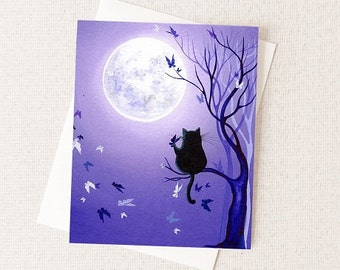 Cat and Butterfly Card - Whimsical Woodland Critters - Cat and Moon Painting Greeting Card - Wholesale Card Sets Available