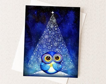Christmas Tree and Owl Snowflakes North Star Snowy Night - Winter Holiday Christmas Blank Card
