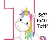 1 Birthday Fairytale Unicorn Machine Applique Design Digital Pattern 5x7 6x10 7x11 INSTANT DOWNLOAD