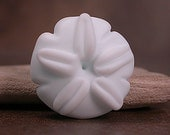 Lampwork Glass Focal Bead Beach Theme Sand Dollar Etched Soft White Divine Spark Designs SRA