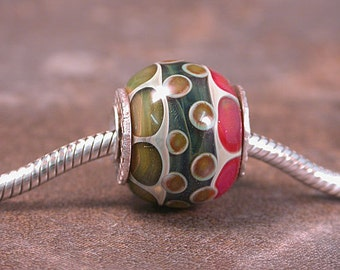 European Charm Bead Big Hole Bead Silver Cored Lines & Dots Divine Spark Designs SRA