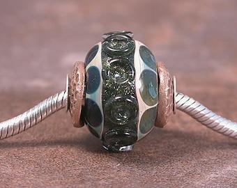 Lampwork Glass Big Hole European Charm Bead Chunky Boro Sparkly Greens Silver Cored Divine Spark Designs SRA