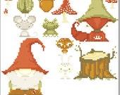 Gnome and Fox Cross Stitch Pattern set