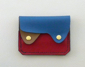 Small leather wallet, coin purse, card case, Minimalist Wallet