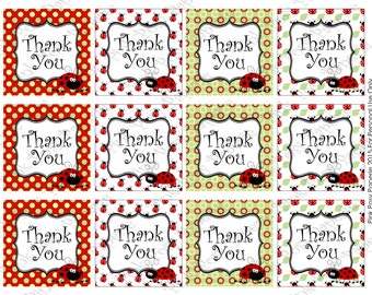 Printable Red Ladybug Thank You Tags - Instant Download