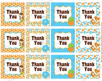 Printable Luau Thank You Tags - Instant Download