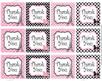 Printable Paris Thank You Tags - Instant Download