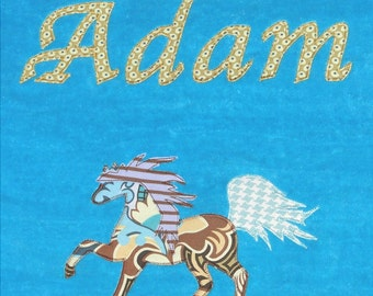 Personalized Large Turquoise Velour Beach Towel with Horse,Pool Towel,Camp Towel,Kids Bath Towel,Horse Party, Bridal Party Towel, Farm Party