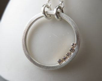 Diamond Gold Silver Hoop Pendant Necklace