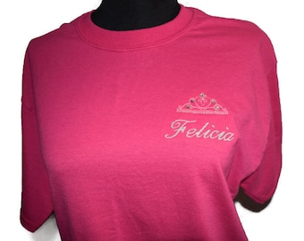 T-shirt FELICIA Medium Tshirt Med. Unisex Ready to Ship Princess Crown with Crystals Embroidery