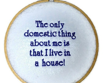 """50% off SALE Domestic Light Blue Wall Hanging Embroidery Hoop with Quote 6"""""""