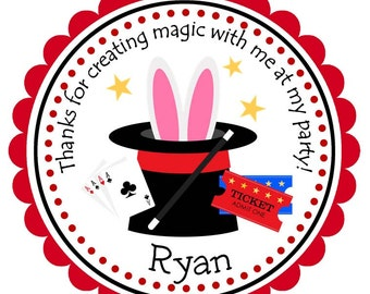 Magic Show Personalized Stickers, Magician Stickers, Magic, Labels, Address Labels, Gift Tags, Birthday Stickers - Set of 12