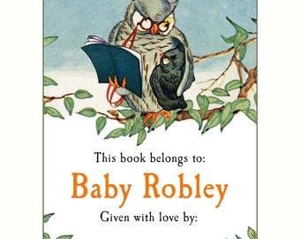 Baby Shower - Personalized Bookplates - Baby Owl Book Labels - Given With Love From, Write In Your Name, Library Shower Gift