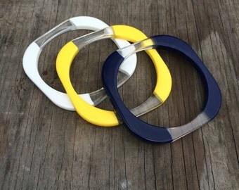 Stacking Bracelet Set - Vintage Bracelets - Yellow Blue and White