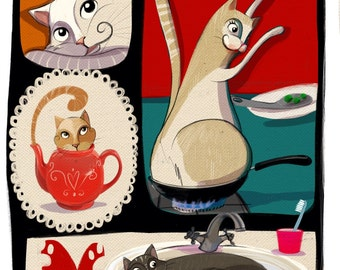 Custom Illustrated Pet/s Portrait by Eunice Rosado