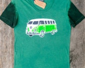 Batik hippie VW camper women t shirt gift for travelers individually hand drawn hand painted & hand dyed teal green Eco friendly clothing