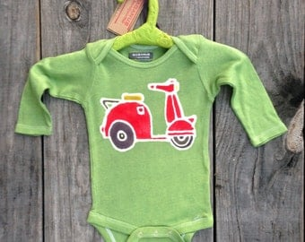 SALE Batik organic scooter green long sleeved one piece Eco friendly hand painted -unisex baby clothing -