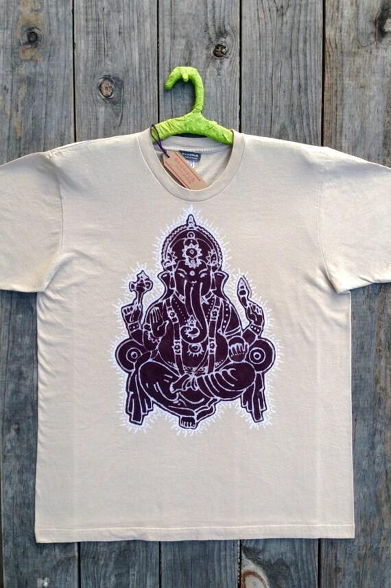 Lord Ganesha elephant men t shirt mens clothing Eco yoga top, hand dyed beige yoga clothing, batik clothing, hand painted shirt  Hindu God,