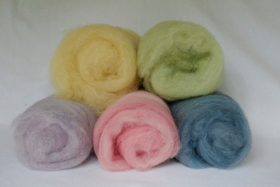 a Rainbow Selection of Plant Dyed Wool Batts