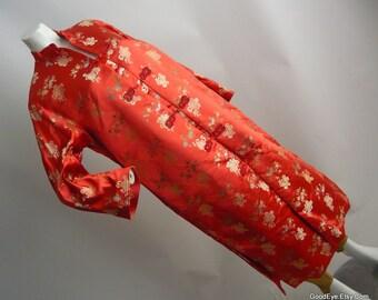Vintage DYNESTY Opera Coat 1960s Evening Cocktail / Asian Mandarin Jacket Silk Oriental / Made in BBC Hong Kong / Cinnamon Jacquard