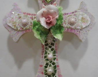 stained glass broken china cross pink and green cottage chic roses