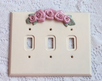 Triple SWITCH PLATE Cover Shabby Chic CREAMY White Pink Roses ecs sct schteam SVFTeam