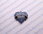 Custom Big Sis Charm Crystal Antique Silver Sister Heart Pendant
