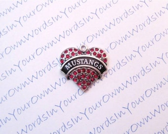 Customized Personalized Mustangs Charm or Any Youth Sports Team Name Crystal Antique Silver Heart Custom Pendant